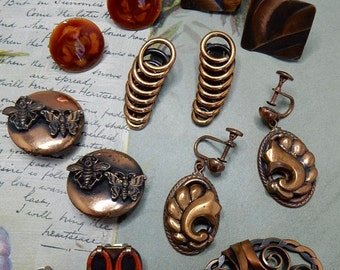 7 Pairs Copper Clip Earrings Lot