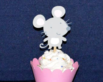 9 Little Mouse Cupcake Toppers SAVE 50% Happy Birthday Mouse Give a Mouse a Cookie Party It's A Girl Baby Shower Decorations READY to SHiP