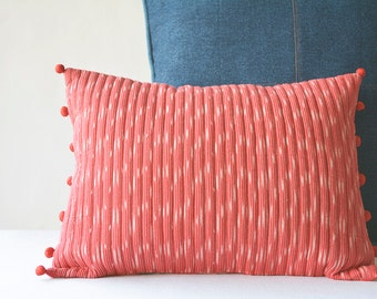 Quilted Red Lumbar Pillow Cover in Ikat fabric, Woven Ikat Pillow with Graphic Pattern, Cotton Ikat Cushion Cover, Red Home Decor, Christmas