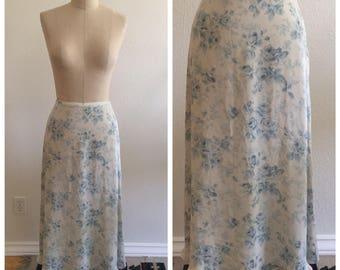 90's Vintage Ralph Lauren Silk Floral Print Full Length Skirt - Size 12 P - Grunge - Petite - Maxi Skirt