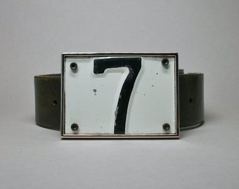 Belt Buckle License Plate Number 7 Seven Unique Handmade Gift for Men Women Brother Sister