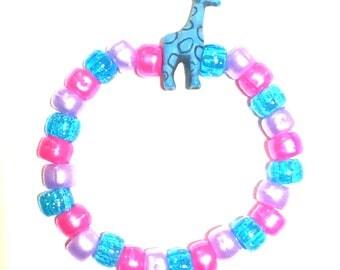 Rave Kandi- Giraffe, Kandi bracelet, Kandi, custom bracelet, EDC bead bracelet