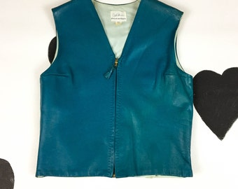60's mod rocker turquoise leather zip up vest jacket 1960's green blue sleeveless biker motorcycle leather shell shirt top size L 10 12