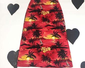 90's Palm Tree Sunset slinky red black Maxi skirt 1990's long full length Hawaiian Print skirt / Beach / Stetchy Elastic / Plus Size XXL 2X