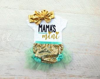 Baby Girl Bodysuit/Glitter Bodysuit/Sparkle Bodysuit/Mama's Mini/Baby Girl Shirt/Baby Shirt/Baby Girl Set/Shower Gift