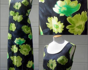 Navy Blue Sundress with Big Lime Green Flowers Vintage 70s  Size 18 / XL