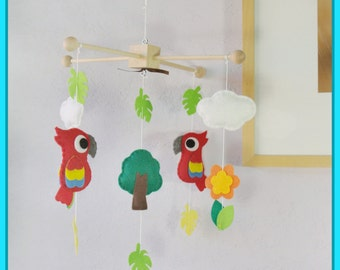 Parrots Baby Mobile, Baby Mobile, Baby Crib Mobile, Parakeet Birds, Birds Baby Mobile, Tropical Birds Mobile, Safari Cot Mobile