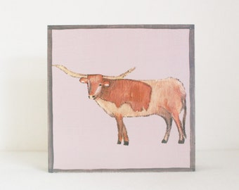 longhorn nursery art- baby boy nursery art-southwestern nursery decor, longhorn nursery prints, nursery decor-  cow art- redtilestudio