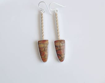 Cherry Creek Jasper Earrings/ Long Earrings/ Long Stone Earrings/ Patterned Long Earrings/ Dangle Earrings/ Orange Jasper/ Grounding Earring
