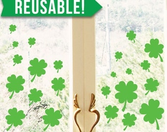 St Patricks Day Decorations - Window Cling - Reusable - Shamrock - Four Leaf Clover - St Patricks Day - Saint Patricks Day - Lucky - Irish