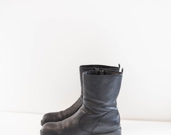 black leather ankle winter boots - women's size 9.5