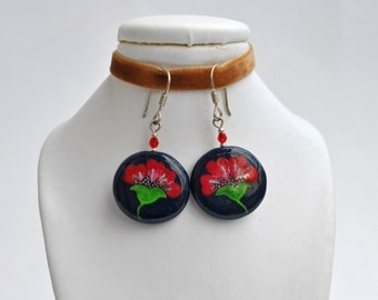 Handpainted red flower earrings (ready to ship)