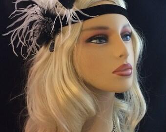 Great Gatsby Headband, Flapper Girl Headband, Art Deco Flapper Headband, 1920s Headpiece, 1920s Flapper Headpiece, Black and White