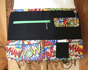 Vendor Apron, Utility Apron, Teacher Apron - Black with Comic Book - Ready to Ship