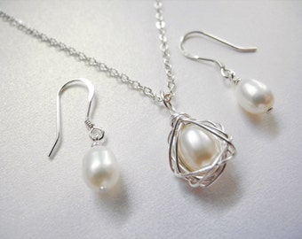 Jewelry Set, Petite Wire Wrapped Bird Nest Necklace with Matching Earrings, 6-7mm White Cultured Freshwater Pearls