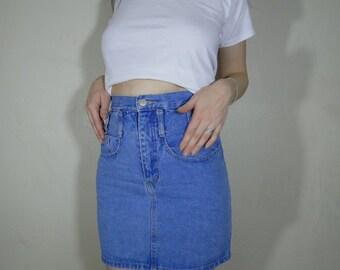 90s Nada nuff pale blue denim mini skirt size small