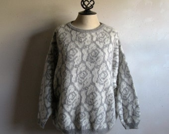 Vintage 80s Benetton Sweater 1980s United Colors Roses Gray White Mohair Sweater 44 Medium