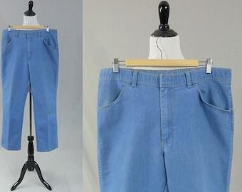 "80s Men's Jeans - Light Blue Denim Pants - Grandpa Jeans - 35x31 - 35"" waist x 31"" length"