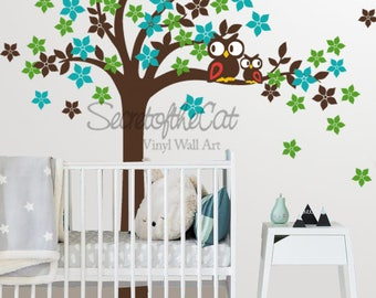 Wall Decals Nursery - Nursery wall decal - Tree Wall Decal - Tree and owls - Tree Decal -  Baby Tree Decal - Owls  - Tree