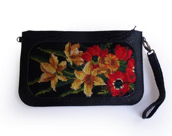 Large black clutch with floral needlepoint, Leather clutch, black wallet, Needlepoint tapestry wallet