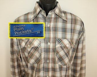 JCPenney Plain Pockets vintage plaid shirt Medium/Large 80s button-down collared long-sleeve