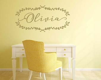Custom Name Decals for Nursery with Laurel Leaves Wreath - Gold Wall Decals - Metallic Wall Decals - Nursery Decor - WB400