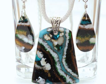Fused Glass Pendant and Earring Set, Fused Glass Jewelry, Faux Agate, Artistic Glass, Earthy, Turquoise Brown Green White (Item #10891-P)