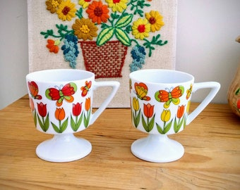 Vintage Butterfly and Tulip Pedestal Coffee - Tea Mugs