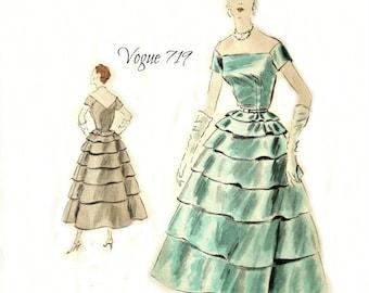 Vogue 719 Couturier Design 1950s Dress Pattern Bias Tiers Size 12 Bust 30