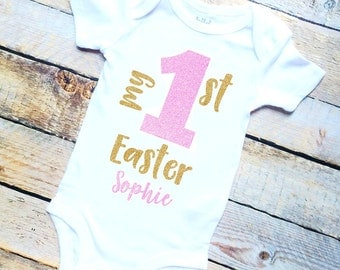 My 1st Easter personalized girl's gold/pink glitter bodysuit