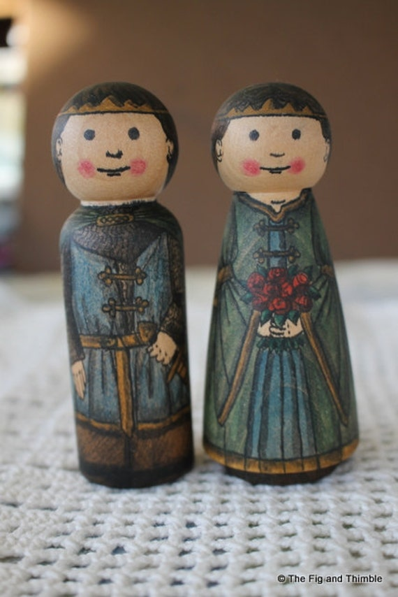 Prince and Princess Wood Peg Dolls - Set of Two watercolored large size 3.5""
