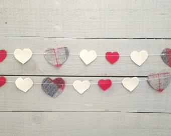 Heart Garland- Red and White