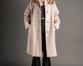 Tan Wool & Fur Collar Coat