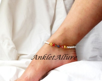 Beach Anklet Red Coy Cloisonne Ankle Braclet Fish Anklet Beach Body Jewelry Cruise Wear