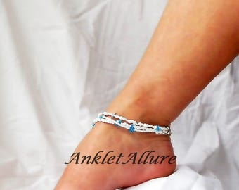 Triple Beach Anklet Blue Ankle Bracelet Resort Body Jewerly Cruise Jewerly Pedicure Accessory