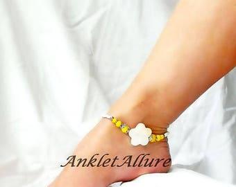 Sunshine Flower Anklet Beach Ankle Bracelet Flower Body Jewelry Foot Jewelry