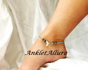 Blue Dolphin Tail Anklet Beach Ankle Bracelet Dolphin Jewelry Whale Cruise Accessories