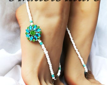Barefoot Sandals Beach Sandals Rhinestone Flower Anklets Blue Green Sandals