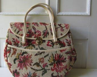 "Vintage Floral Tapestry Bag - Large Needlepoint Purse - White Floral Carpet Bag 15"" x 12"" x 5"""