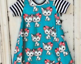 Girl's Tshirt Dress Dress - Girl's Floral Knit Dress - Girls hi low Dress