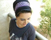 Purple & black hair bun cover, hijab turban ,Jewish Tichel,cover your hair,wrap around mitpachat,and tie in the back, hair covering formal