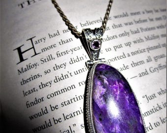 The Midnight Duel - Sterling Silver Sugilite & Amethyst Pendant - The Violet Flame, Dream Magic, Enchantment, Lucid Dreams, Love, Passion