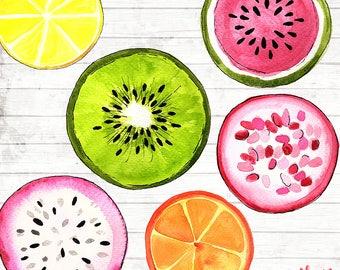Fruit Slices Clipart Clip Art Commercial Use - Vector Graphics - Fruit Digital Clip Art - Digital Images - Fruit print Download - ACGA03