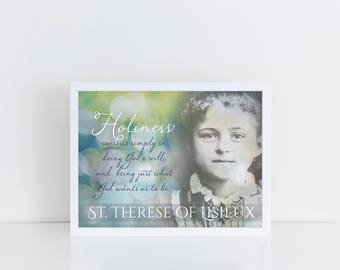 St. Therese of Lisieux Printable, saint quote, the Little Flower, Confirmation Gift, Baptism Gift, Catholic Print, Santa Clara Design
