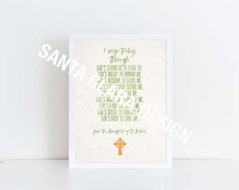"""Irish Printable Quote, """"I Arise Today"""", Printable, St. Patrick Breastplate, Irish quote, Irish blessing, 8x10 & 5x7, St. Patrick, Irish Gift"""