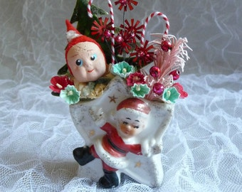 Vintage Christmas Decoration Rare Clay Face Elf Retro  Mercury Glass Candy Canes  Star Vase Japan