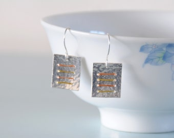 Square Linear Earrings - Sterling Silver Copper Gold Coloured Wire Wrapped Metalwork Hammered Jewellery Gift for Her by Emma Dickie Design