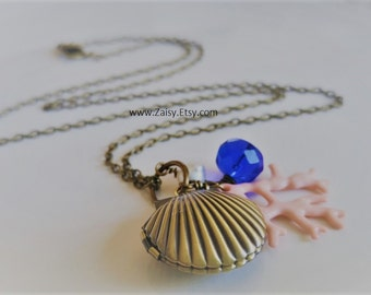 Seashell Mermaid Locket Necklace with Freshwater Pearl - CHOOSE YOUR COLOR, Mermaid Necklace, Shell, Beach, Cruise Jewelry