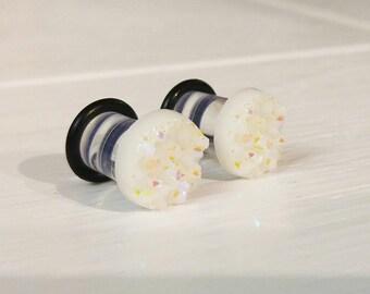 Boho White Crystal Plugs for Gauged Ears, sizes 00g, 0g, 2g, 4g, 6g, regular earrings, 10mm, 8mm, 6mm, 5mm, 4mm CHOOSE COLOR, One (1) Pair