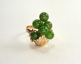 Vintage Solid 14K Rose Gold Nephrite Jade Cluster Ring Size 5.25